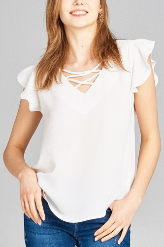 Ladies fashion ruffle sleeve v-neck w/cross strap crepe woven top-id.CC35157d