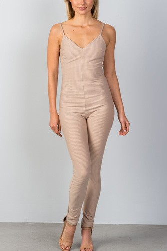 Ladies fashion thin straps stretch sleeveless v neckline stripes all over low back, fitted jumpsuit -id.CC35159