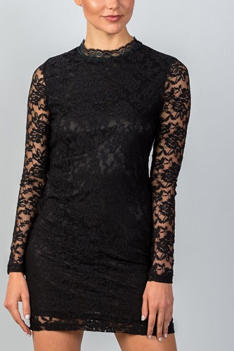Ladies fashion  long sleeve  floral lace mock neck bodycon mini dress-id.CC35162
