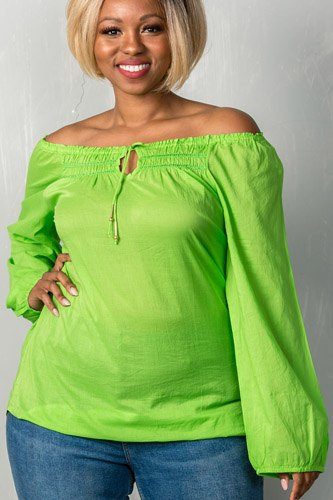 Ladies fashion plus size boho contemporary elastic off the shoulder top-id.CC35202