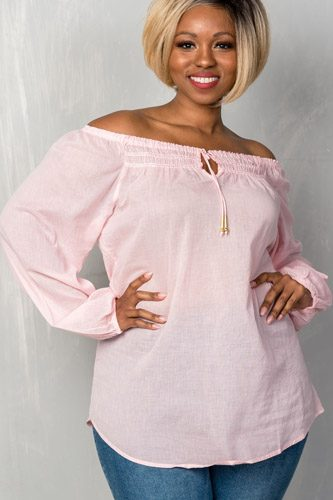 Ladies fashion plus size boho contemporary elastic off the shoulder top-id.CC35202a