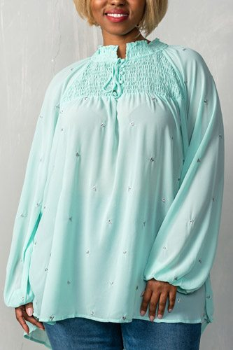 Ladies fashion plus size  long sleeve with elastic cuffs, elastic high neckline & elastic chest detail, sheer, triangle metallic detail allover, high-low hem, relaxed fit, button up & self tie closure detail top-id.CC35204a