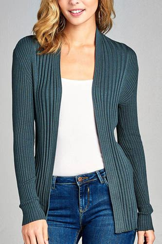Ladies fashion long sleeve open front ribbed knit cardigan-id.CC35215