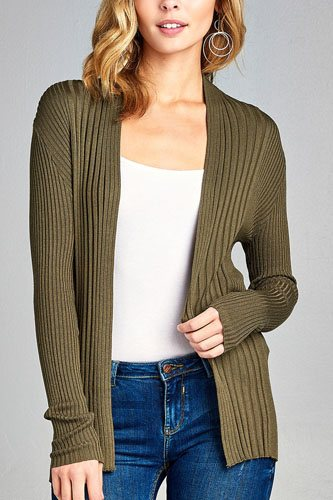 Ladies fashion long sleeve open front ribbed knit cardigan-id.CC35215a