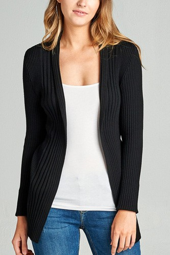 Ladies fashion long sleeve open front ribbed knit cardigan-id.CC35215b