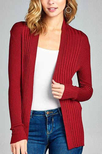 Ladies fashion long sleeve open front ribbed knit cardigan-id.CC35215d