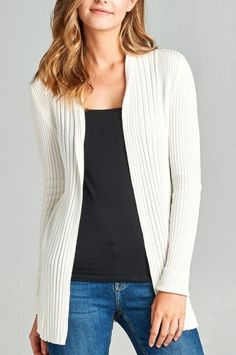 Ladies fashion long sleeve open front ribbed knit cardigan-id.CC35215h