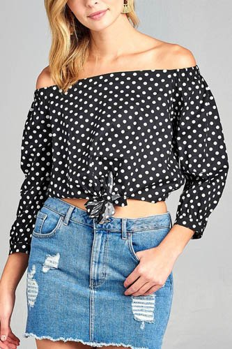 Ladies fashion off the shoulder w/knot front dot print cotton spandex top-id.CC35235