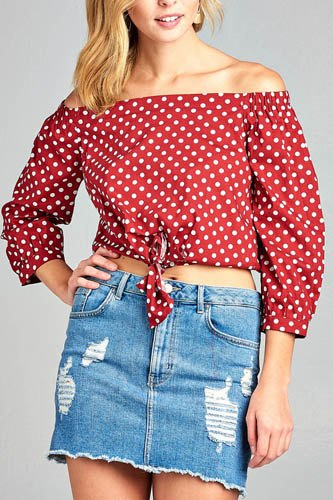Ladies fashion off the shoulder w/knot front dot print cotton spandex top-id.CC35235a