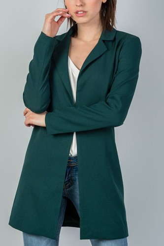 Ladies fashion oversize fit long sleeve open front blazer jacket-id.CC35243