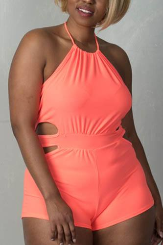 Ladies fashion plus size neon coral sleeveless cut out halter neck short  romper-id.CC35261