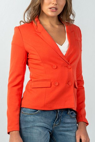 Ladies fashion  coral double button down classic solid blazer-id.CC35277