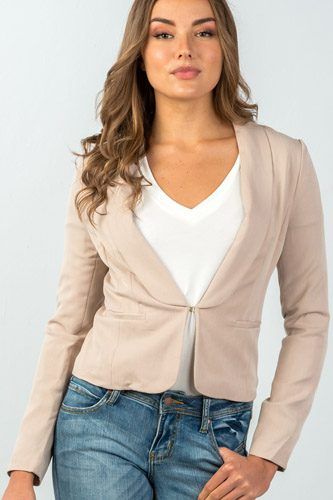 Ladies fashion hook-and-eye front closure classic solid blazer -id.CC35279