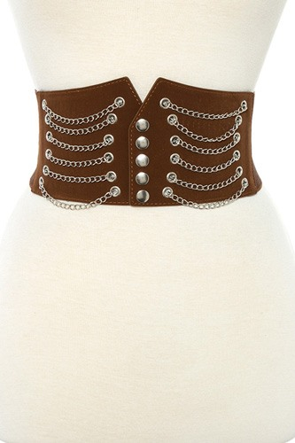 Draped chain wide detailed stretch belt -id.CC35288