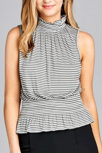 Ladies fashion leeveless neck and waist smocked detail stripe rayon spandex top-id.CC35295a