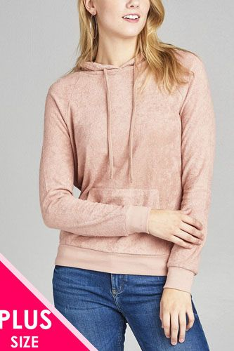 Ladies fashion plus size long sleeve hoodie pull over w/kangaroo pocket french terry top-id.CC35313