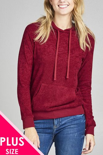 Ladies fashion plus size long sleeve hoodie pull over w/kangaroo pocket french terry top-id.CC35313c