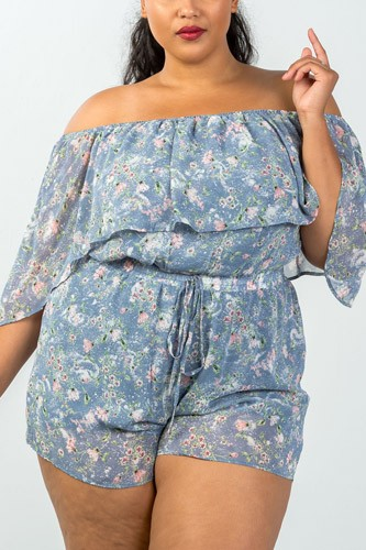 Ladies fashion plus size off the shoulder flounce floral print romper -id.CC35317