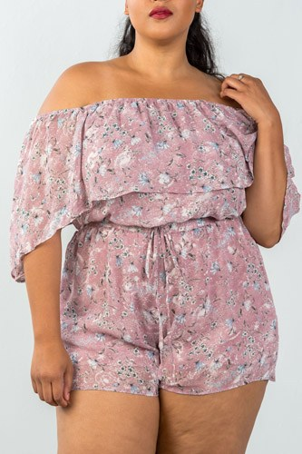 Ladies fashion plus size off the shoulder flounce floral print romper -id.CC35317a