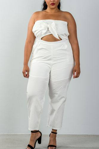 Ladies fashion plus size bow detail at front strapless jumpsuit palazzo pants-id.CC35321a