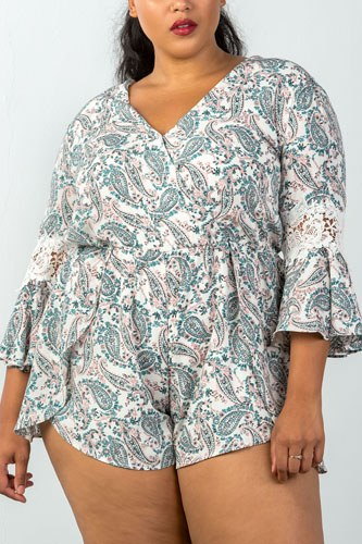 Ladies fashion plus size 3/4 bell sleeves floral crochet sleeves surplice romper -id.CC35322a