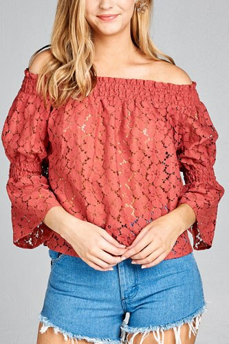 Ladies fashion off the shoulder w/smocked detail floral lace top-id.CC35352a
