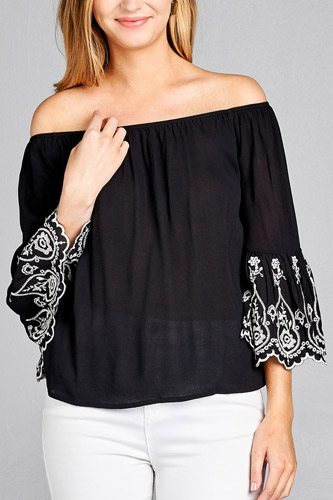 Ladies fashion 3/4 sleeve w/floral embo scallop hem off the shulder woven top-id.CC35353a