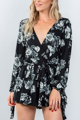 Ladies fashion plunging v-neckline tie long sleeve waist tie floral romper-id.CC35373