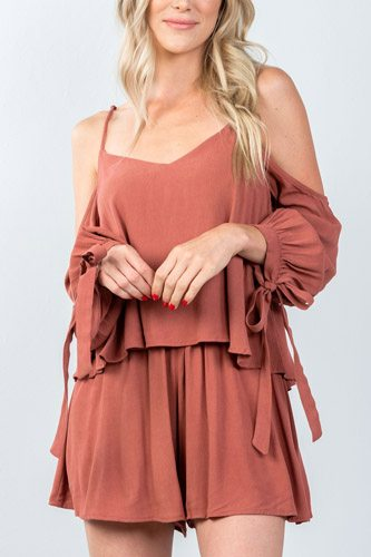 Ladies fashion tie long sleeve cold shoulder flounce romper-id.CC35375
