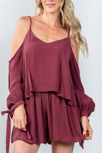 Ladies fashion tie long sleeve cold shoulder flounce romper-id.CC35375a
