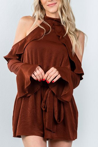 Ladies fashion tie long sleeve cold shoulder flounce romper-id.CC35377