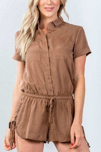 Ladies fashion button down closure lace-up side drawstring romper-id.CC35379