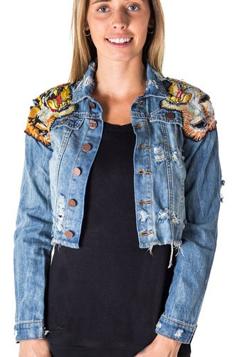 Ladies fashion cropped, distress, embroidered tiger denim jacket-id.CC35387