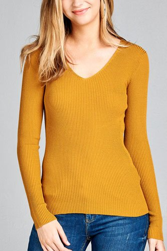Ladies fashion long sleeve v-neck fitted rib sweater top-id.CC35399e