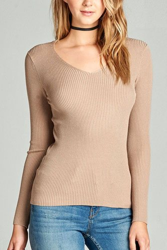 Ladies fashion long sleeve v-neck fitted rib sweater top-id.CC35399h
