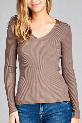 Ladies fashion long sleeve v-neck fitted rib sweater top-id.CC35399j