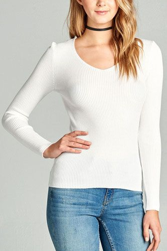 Ladies fashion long sleeve v-neck fitted rib sweater top-id.CC35399k