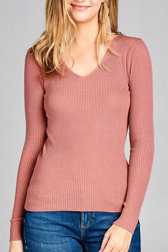 Ladies fashion long sleeve v-neck fitted rib sweater top-id.CC35399l