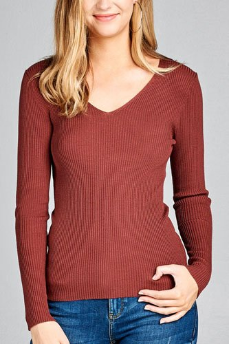 Ladies fashion long sleeve v-neck fitted rib sweater top-id.CC35399m
