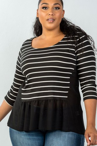 Ladies fashion plus size 3/4 sleeve stripe front top with mesh detail-id.CC35402