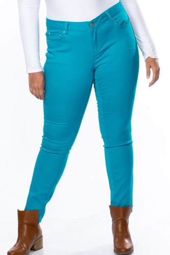 Ladies fashion plus size mid rise skinny cotton spandex pants-id.CC35408