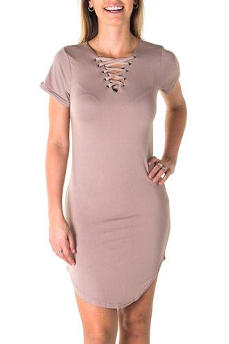 Ladies fashion round hem t shirt dress and lace up v neck-id.CC35413d