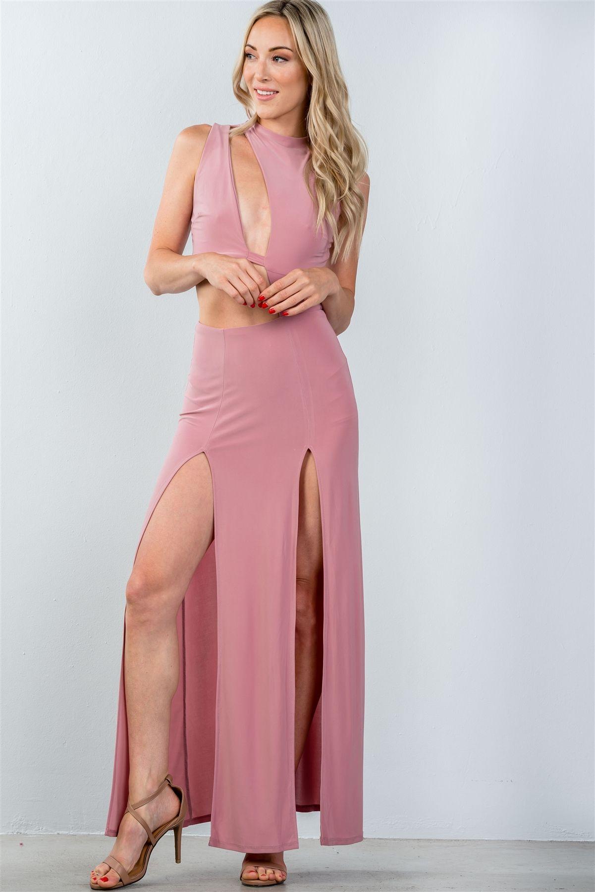 Ladies fashion cut out double thigh high slit maxi dress