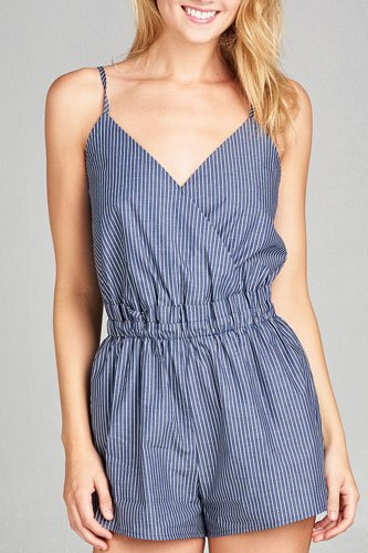 Ladies fashion surplice cami plunging v-neck wrap stripe woven romper-id.CC35426a