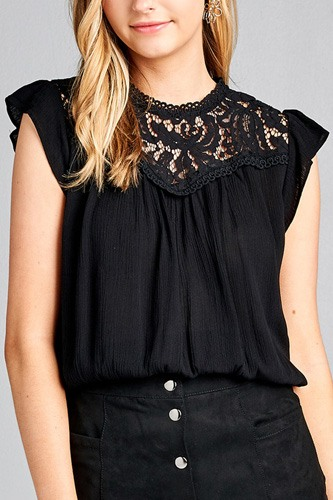 Ladies fashion ruffle sleeve front lace back button w/self tie woven top-id.CC35427