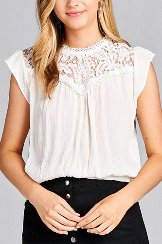 Ladies fashion ruffle sleeve front lace back button w/self tie woven top-id.CC35427c