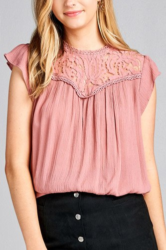 Ladies fashion ruffle sleeve front lace back button w/self tie woven top-id.CC35427d