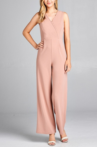 Ladies fashion double v-neck long wide jumpsuit-id.CC35429