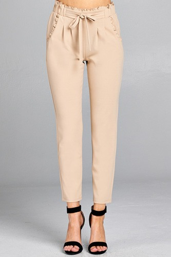 Ladies fashion waist hem and pocket ruffle detail w/self tie ankle pants-id.CC35430b
