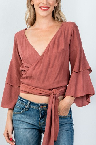 Ladies fashion rust  v neckline wrap tie tiered bell sleeves blouse-id.CC35431